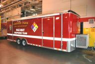 A large red storage trailer.