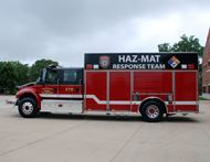 A large red response truck.
