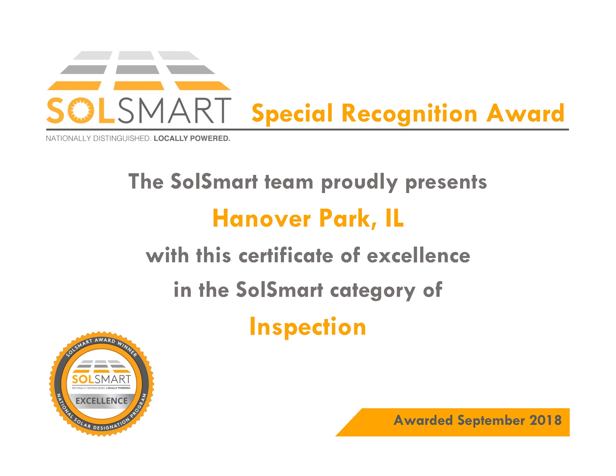 Special Recognition Award_HanoverPark Opens in new window